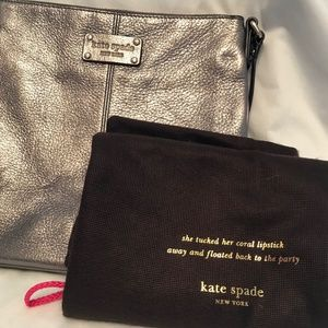 Kate Spade GlIttery Silver Leather Crossbody Bag